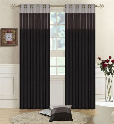 grey silver curtains details about black grey silver faux silk three tone