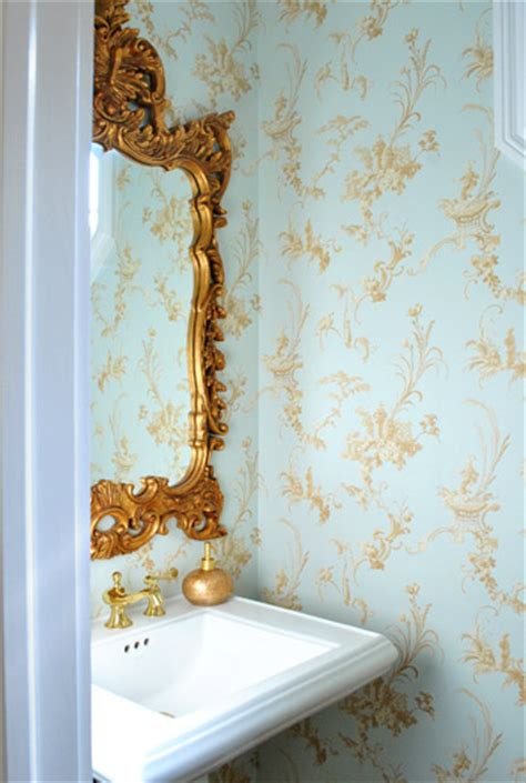 gold wallpaper in bathroom house crashing downsized upgraded young house love