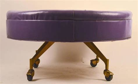 Rolling Leather Ottoman Large Rolling Pouf Stool And Ottoman At 1stdibs