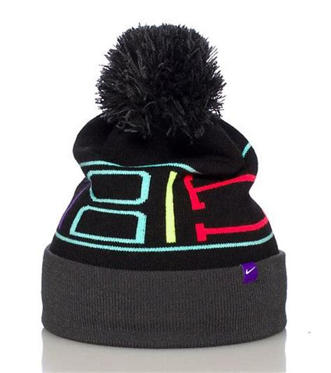 Lettering Beanie Hat nike winter beanie pom pom detail on top contrasting neon