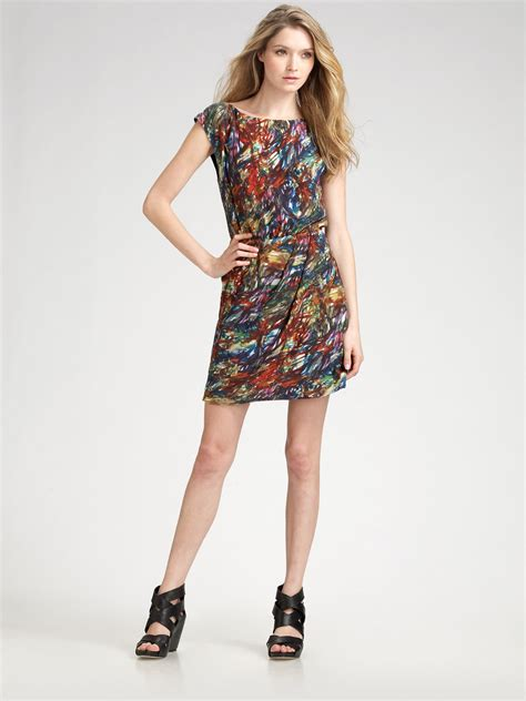 theory arena brushstrokeprint silk dress lyst