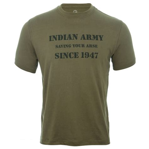 Tshirt Black Indian indian army t shirt in olive green with black print