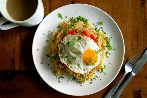 nasi goreng  fried egg recipe great british chefs