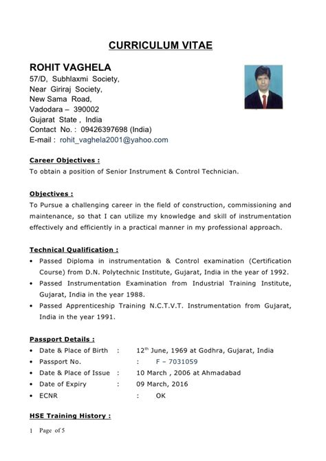 Sample Resume Format Dubai by New Cv Rohit