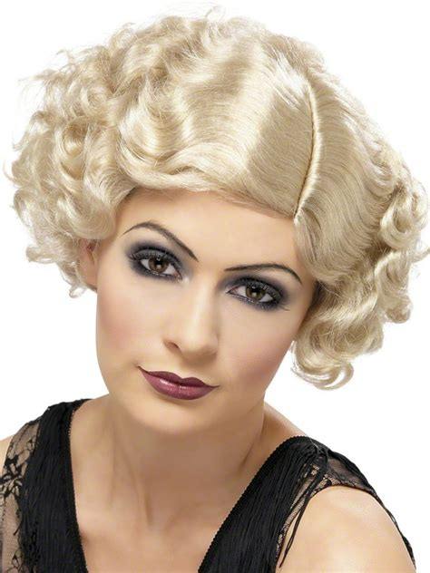 1920s curly hairstyles 1920 s flapper curly blonde wig 42003 fancy dress ball