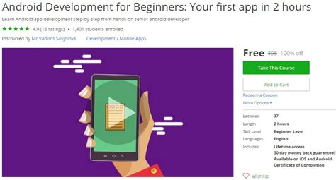 android development for beginners development free coupon discount