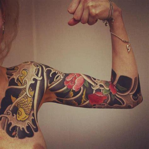 blue lotus tattoo eskilstuna lotus and carp japanese sleeve tattoo art pinterest