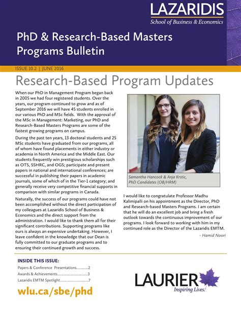 Research Based Mba by Phd Research Based Masters Bulletin June 2016 By