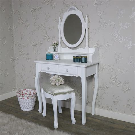 white dressing table set mirror stool shabby french chic