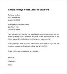Notice Letter To Landlord Template by Exle Of Letter To Landlord 30 Day Notice Cover Letter