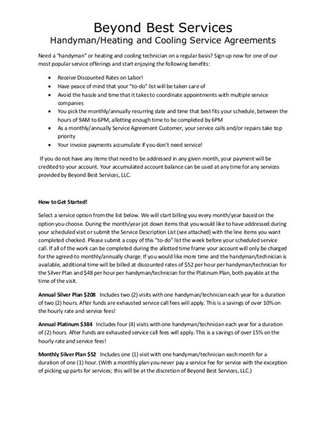 monthly service agreement template monthly service agreement
