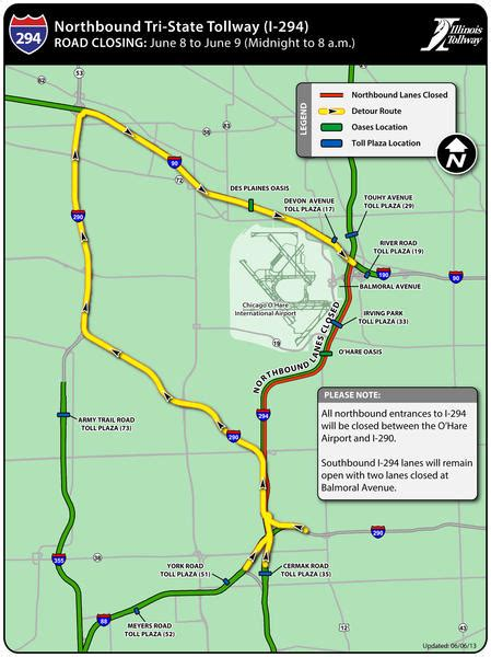 tollways map tollway to shut tri state to repair damaged bridge