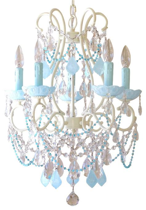 Aqua Blue Chandelier 5 Light Chandelier With Aqua Blue Crystals Traditional Chandeliers By Bebe