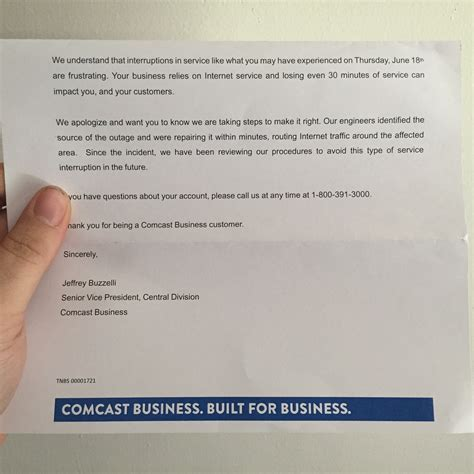 Business Letter Unfortunately dealing with recent and future comcast outages tidbits