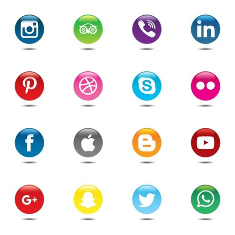 imagenes redes sociales iconos conjunto colorido y circular de iconos de las redes