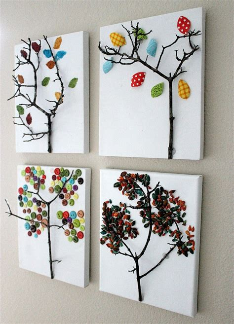 diy crafts for home decor button tree crafts wandgestaltung ideen 30 kreative und einfache inspirationen