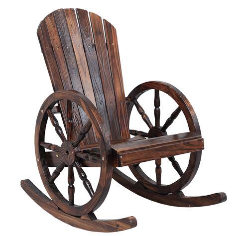 outdoor wooden rocking bench wagon wheel wood adirondack style garden chair garden
