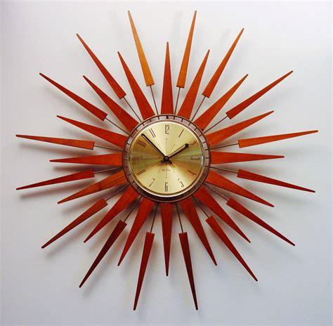 mid century modern wall clocks mid century modern starburst wall clock by seth