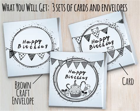 doodle card sets of 3 half fold greeting cards happy birthday doodle