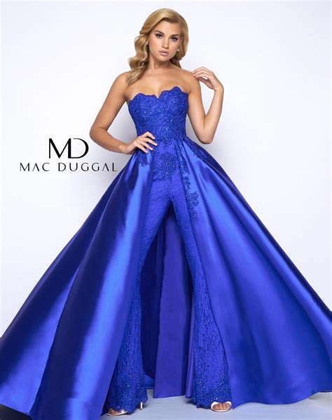 Jumpsuit Dress 48442m mac duggal prom jumpsuit with overskirt