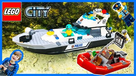 lego boat police lego city police patrol boat at the beach youtube
