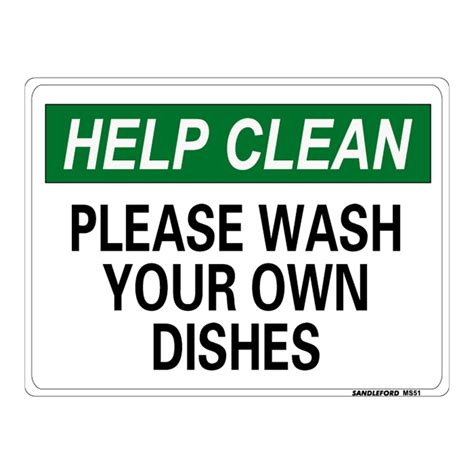 wash your own sandleford 300 x 225mm wash your own dishes plastic sign