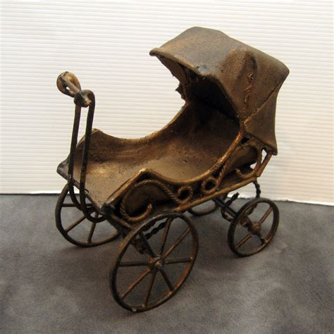 antique baby carriage stroller miniature toy by vintagepotluck