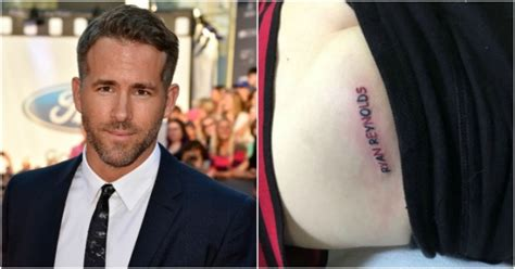 ryan reynolds tattoo this fan got a of his name done