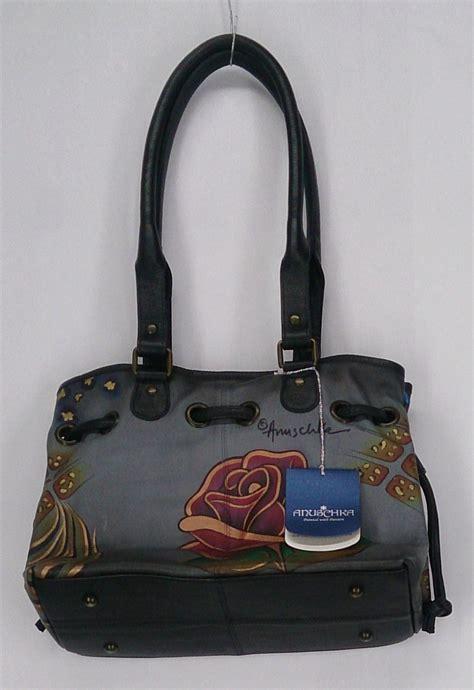 painted leather handbags anuschka painted leather drawstring satchel handbag new 2nd ebay