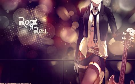 anime girl with guitar wallpaper rock n roll full hd wallpaper and background image