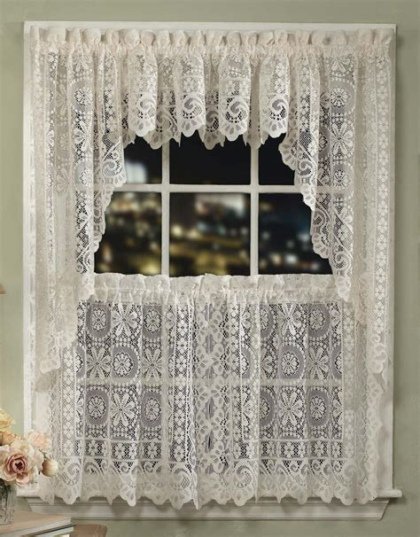 Kitchen Lace Curtains Jacquard Flower Lace Curtains Sturbridge Yankee Workshop