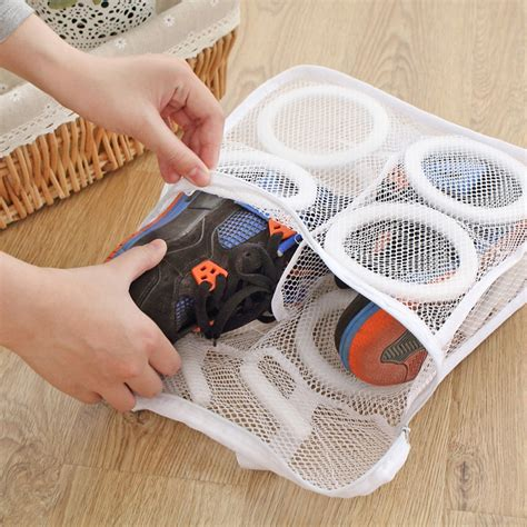 Shoe Bag Korean Shoe Pouch Shoe Organizer 150ml 3d storage organizer bag mesh laundry shoes bags