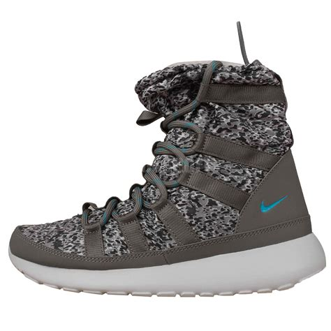 nike wmns rosherun hi sneakerboot print grey womens winter