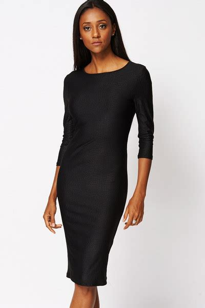dress black evening occasion style fashion crocodile midi