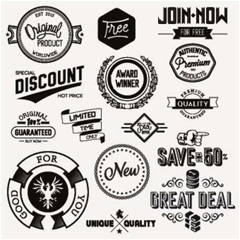 design white label black and white retro labels design vector 03 welovesolo