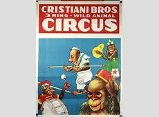 Cristiani Bros. Original Circus Poster; Monkeys James Bond Poster Art