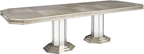 Couture Silver Rectangular Extendable Double Pedestal Rectangular Pedestal Dining Table