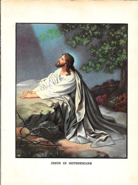 vintage print jesus  gethsemane  bible story print