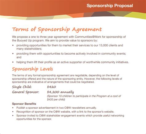 Sle Sponsorship Proposal Template 18 Documents In Pdf Word Sponsorship Package Template
