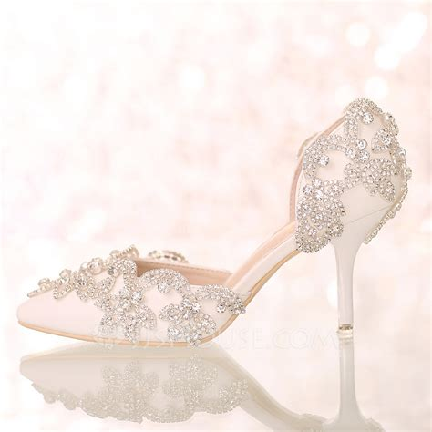 Wedding Shoes With by S Leatherette Stiletto Heel Closed Toe Pumps Sandals