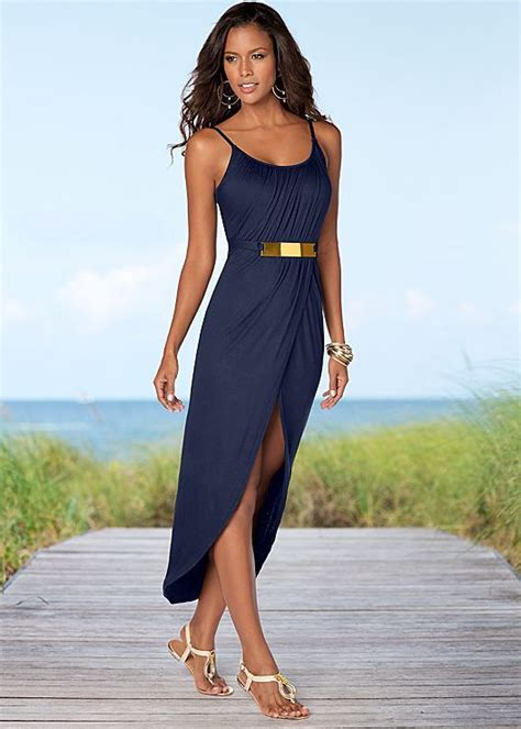 Venus Navy navy gold detail maxi dress from venus available in sizes xs xl clothing shoes