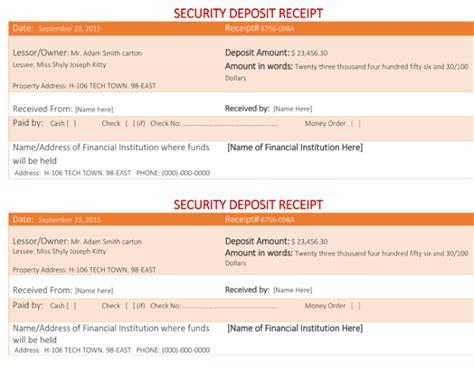 security deposit receipt  sample security deposit receipts