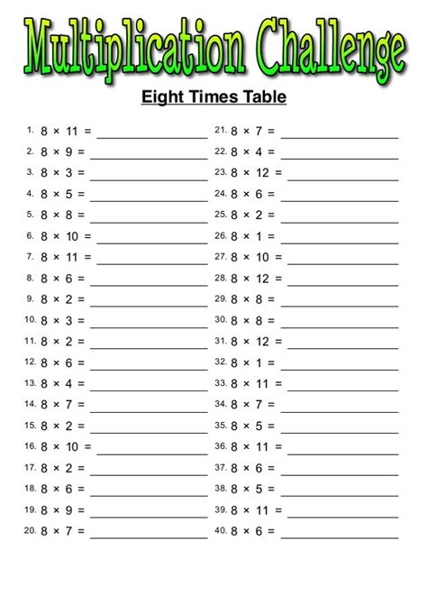 Sheets For Table by Printable 8 Times Table Worksheets Activity Shelter