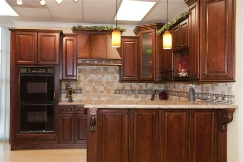 kitchen cabinets cherry finish light floor and counter tops with dark cherry wood