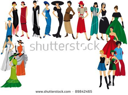 fashion illustration the years crowd walking isolated drawingpeople stock