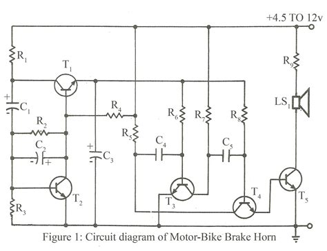circuit diagram of motor bike brake horn electronics project
