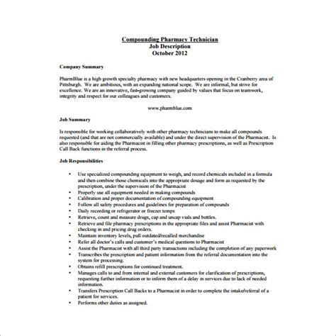 Sle Description In A Resume 28 Pharmacy Technician Resume Duties Pharmacy Technician Description For Resume Sle Of