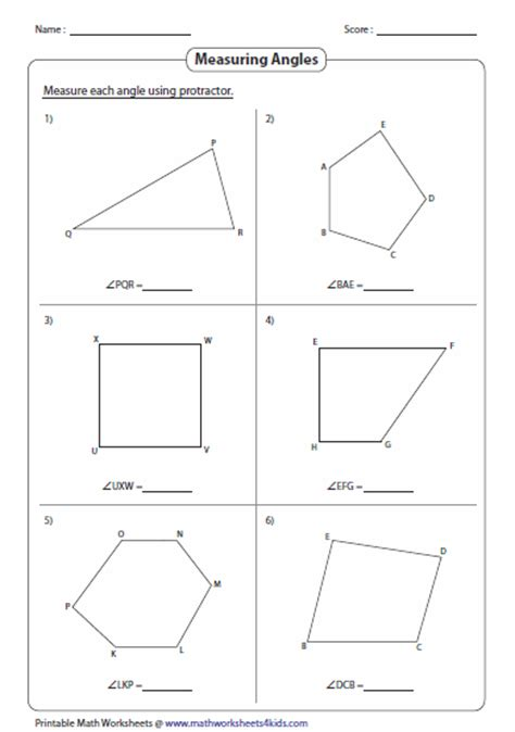 drawing with measurements measuring angles and protractor worksheets