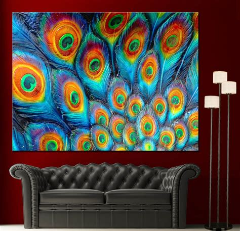 paintings home decor wall canvas painting print peacock feathers