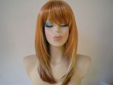 blonde mixed colours ombre colored wig orange golden blonde mixed with auburn
